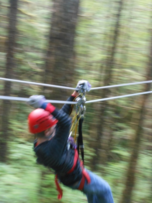 Son on zipline