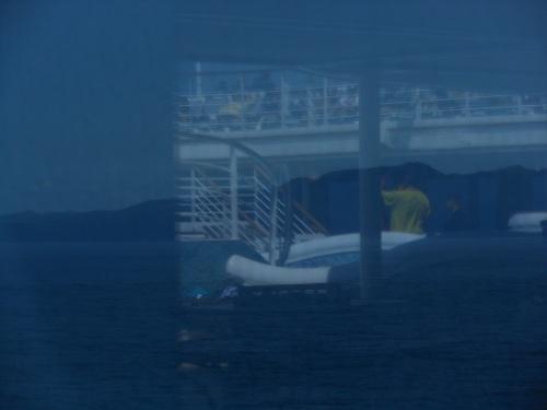 Merged view outside cruise ship window