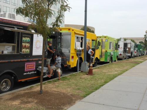 Line of food trucks in Washington, DC