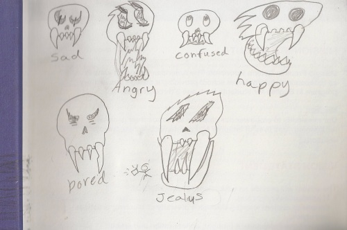 Various skulls drawn by son